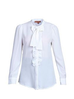 Bow Tie Neck Ruffle Trimed Shirt