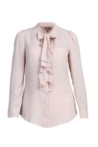 Jolie Moi Bow Tie Neck Ruffle Trimed Shirt