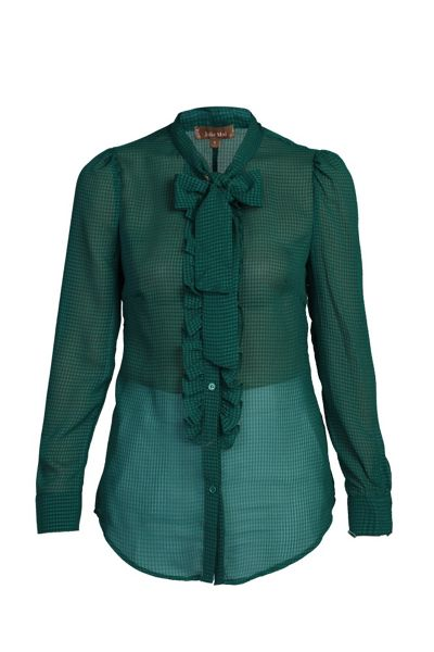 Jolie Moi Tie Neck Check Frilly Shirt