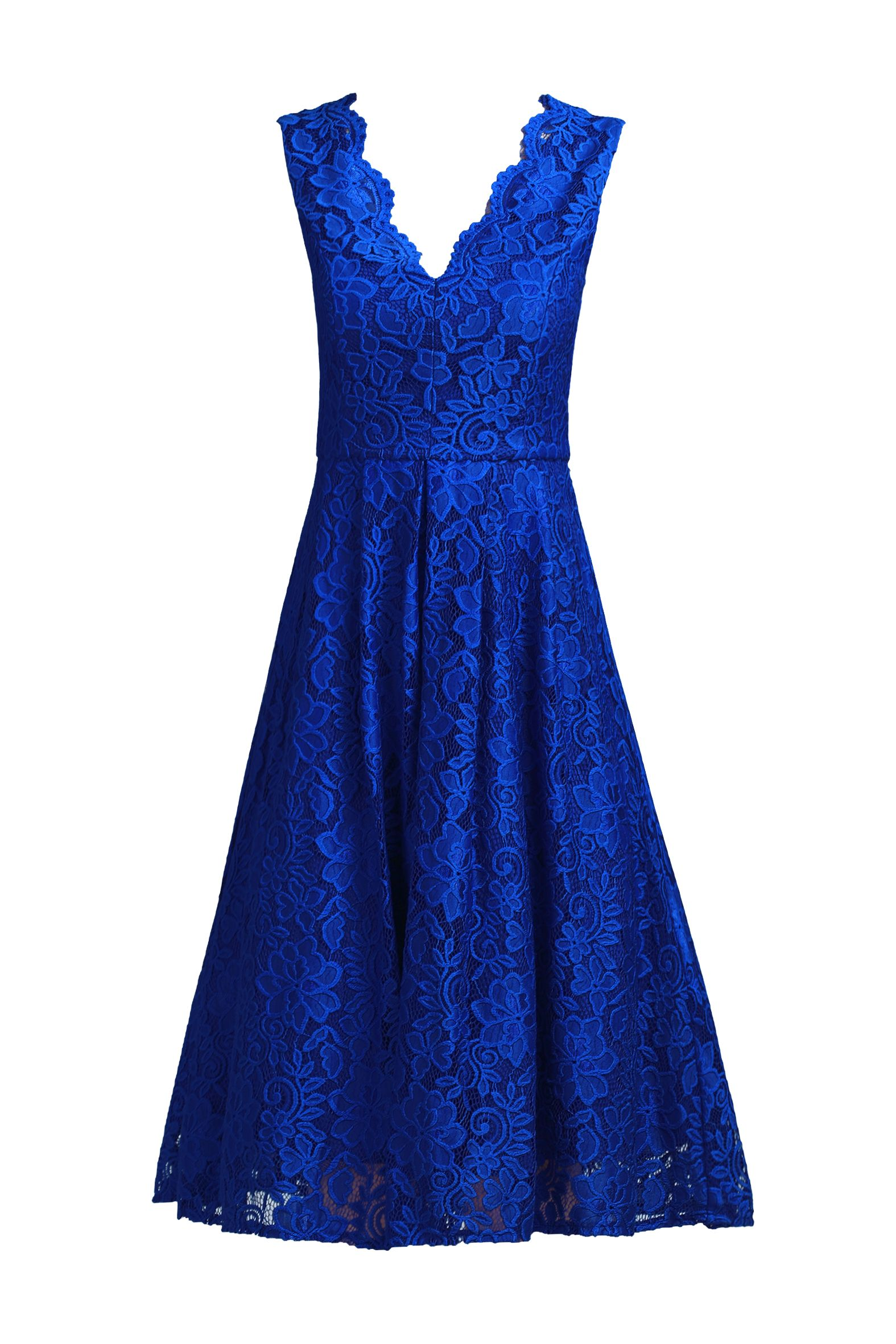 Jolie Moi Scalloped V Neck Lace Dress, Royal Blue
