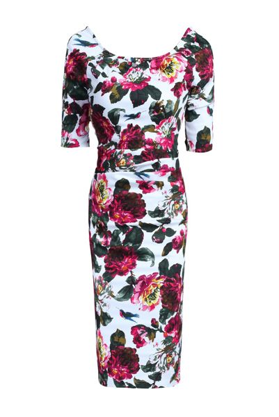 Jolie Moi Half Sleeve Ruched Wiggle Dress