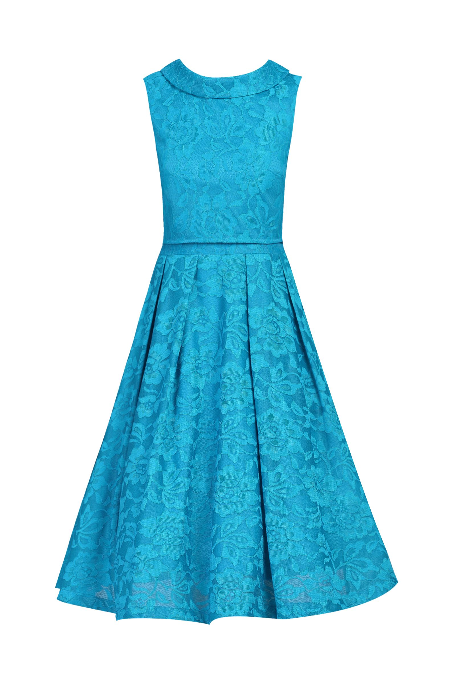 Jolie Moi Lace Bonded Overlay 2 in 1 Dress, Teal