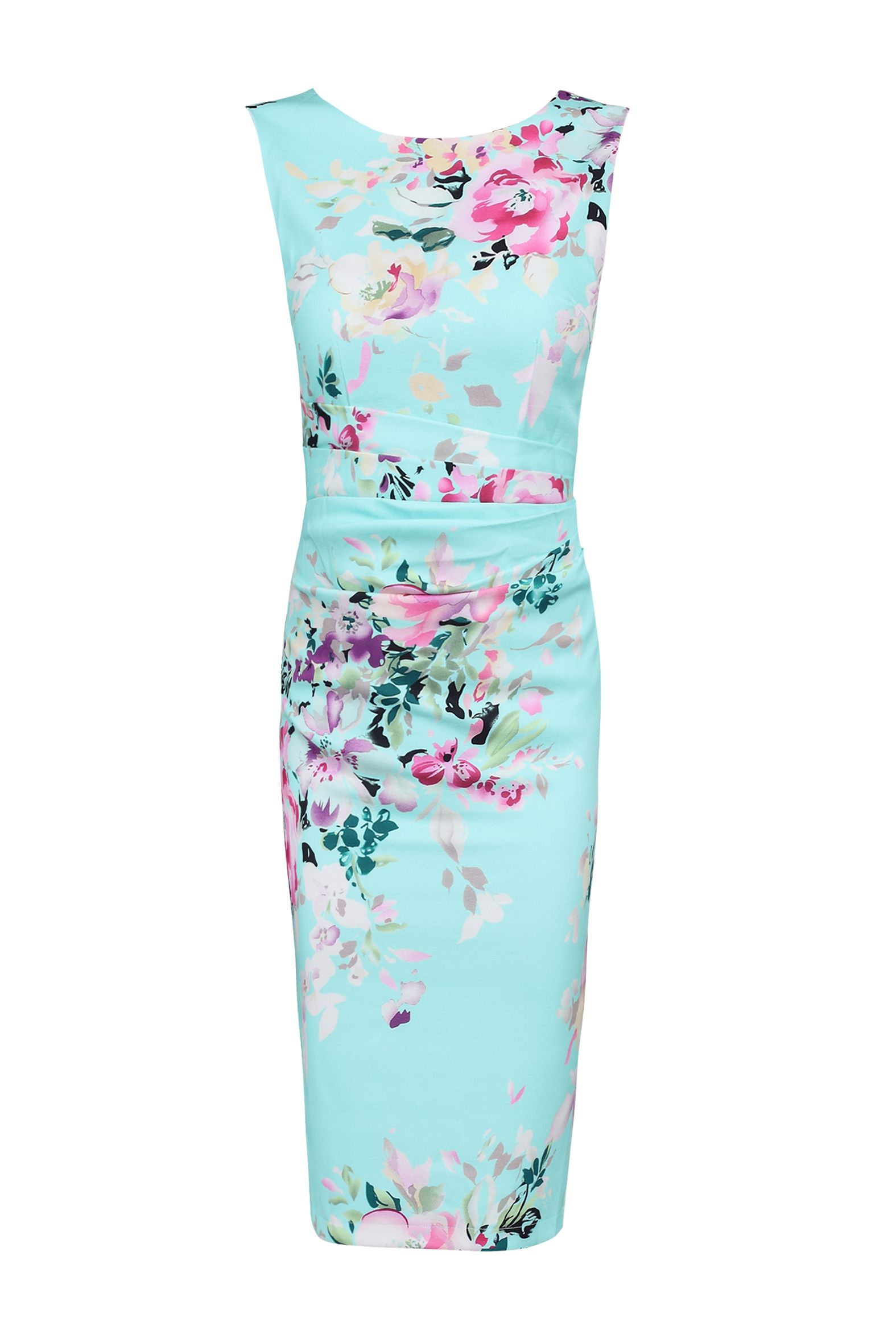 Jolie Moi Floral Print Ruched Shift Dress, Multi-Coloured