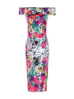 Floral Print Bardot Neckline Dress