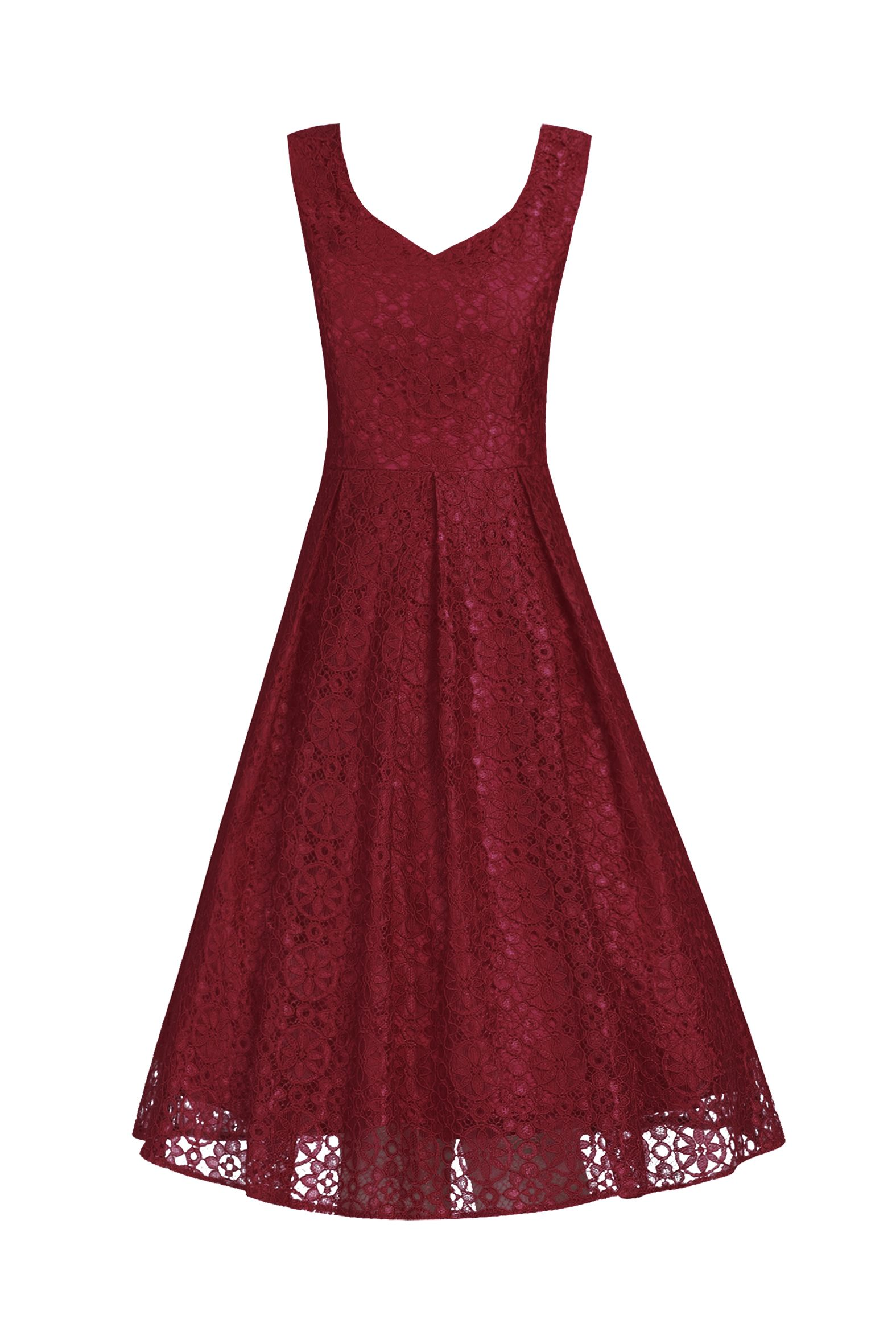 Jolie Moi Sweetheart Pleated Lace Dress, Dark Red