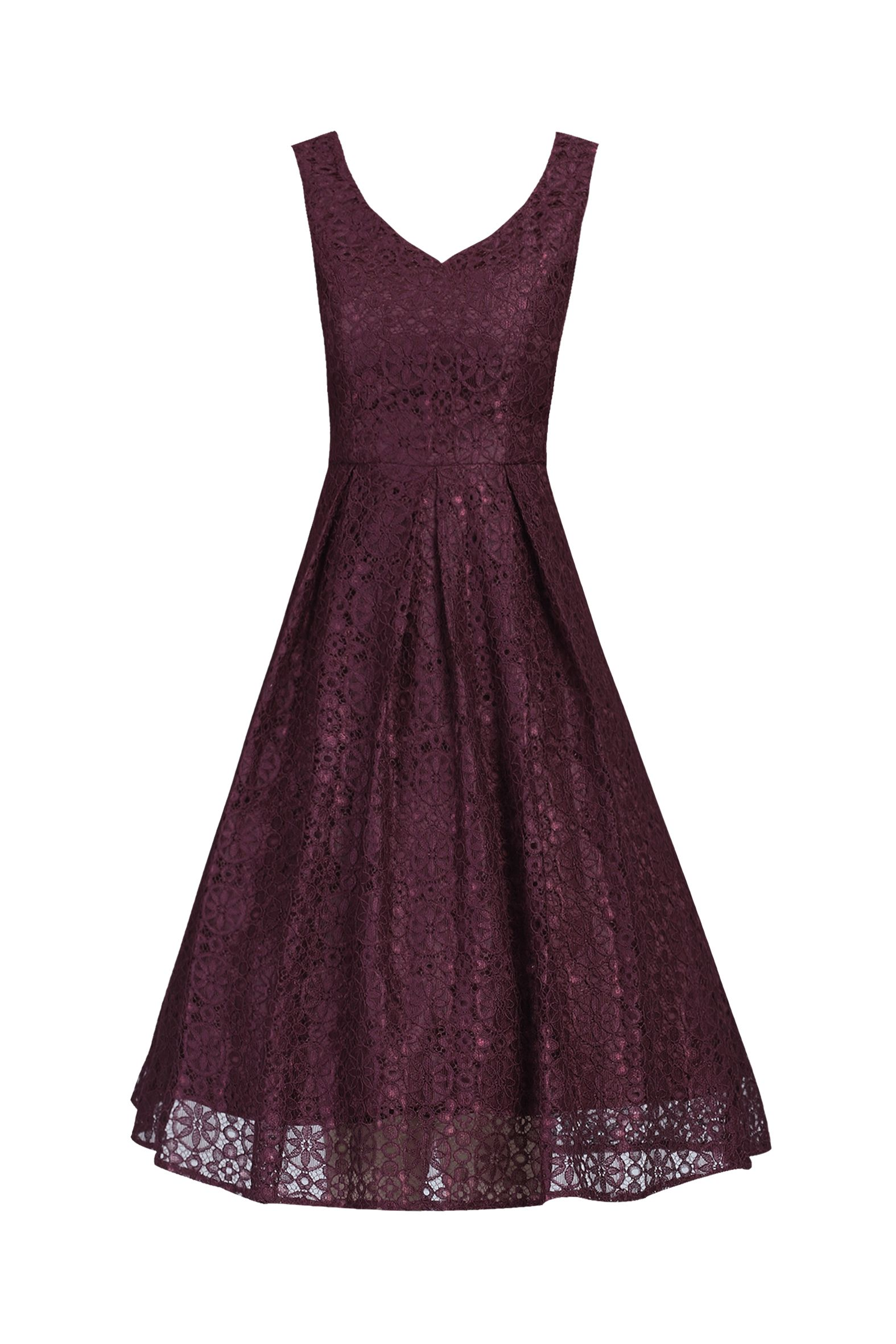Jolie Moi Sweetheart Pleated Lace Dress, Red