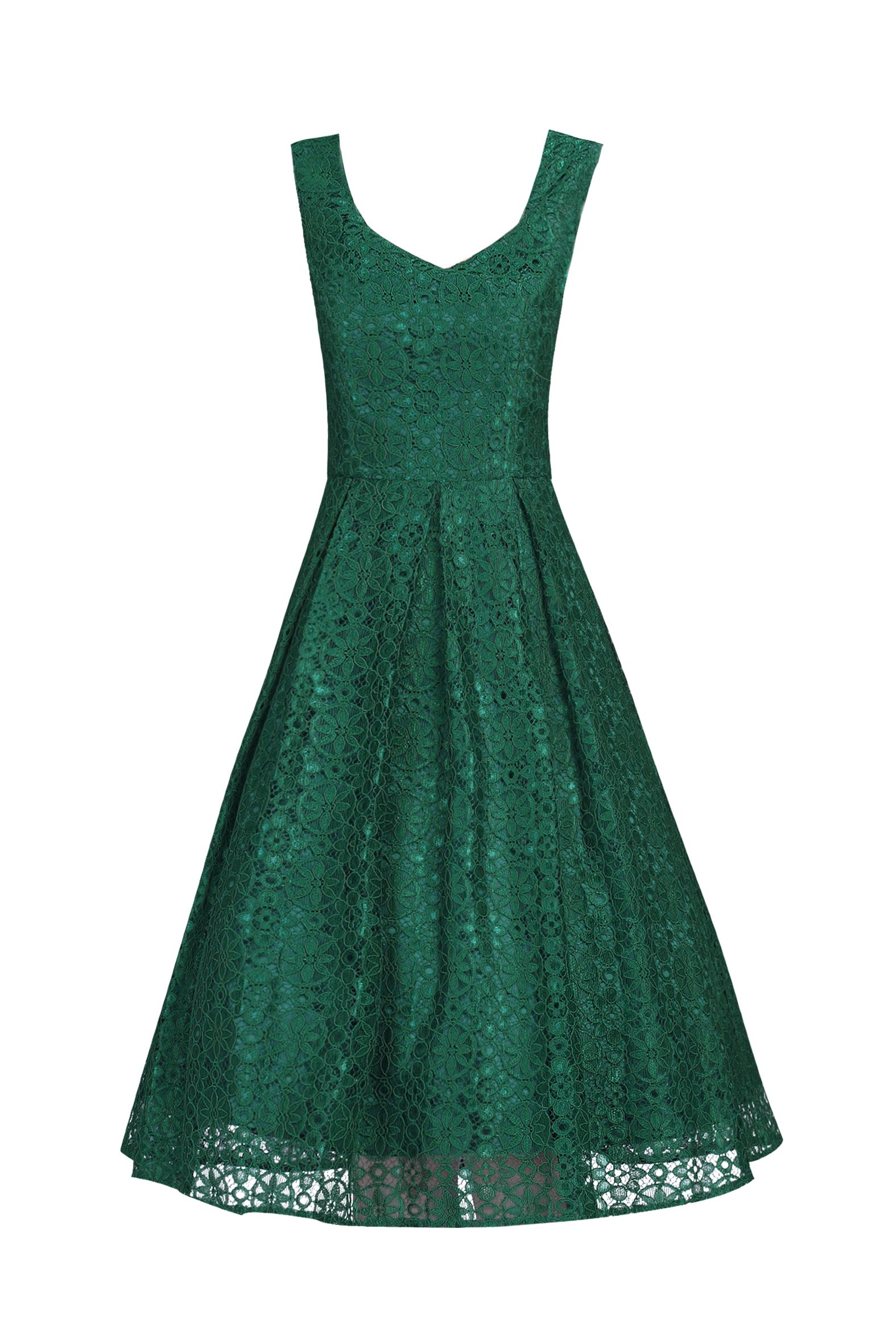 Jolie Moi Sweetheart Pleated Lace Dress, Dark Green