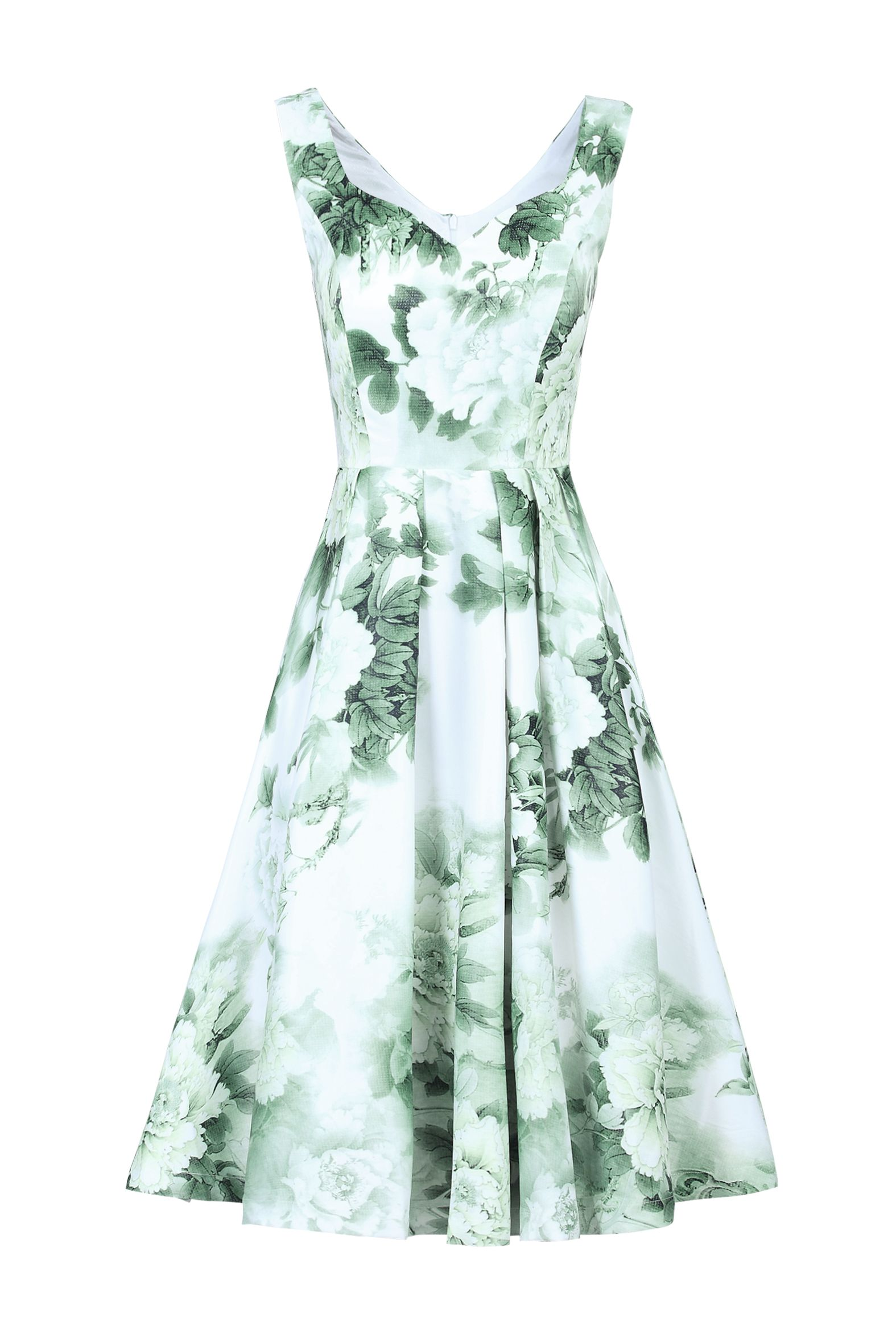 Jolie Moi Sweetheart Neck Printed Dress, Light Green