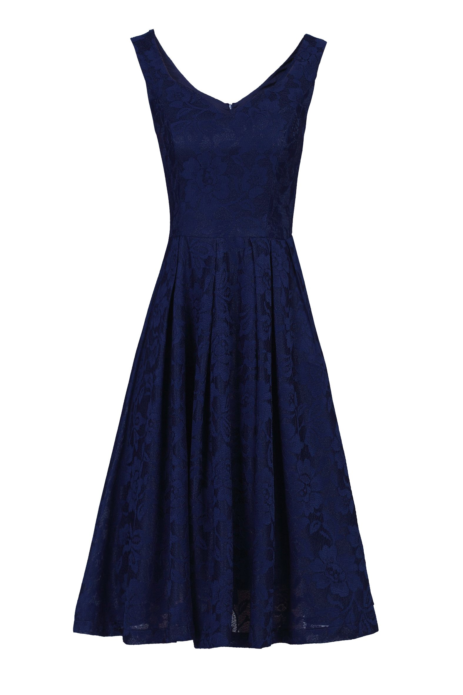Jolie Moi Lace Bonded Sweetheart Neck Dress, Blue