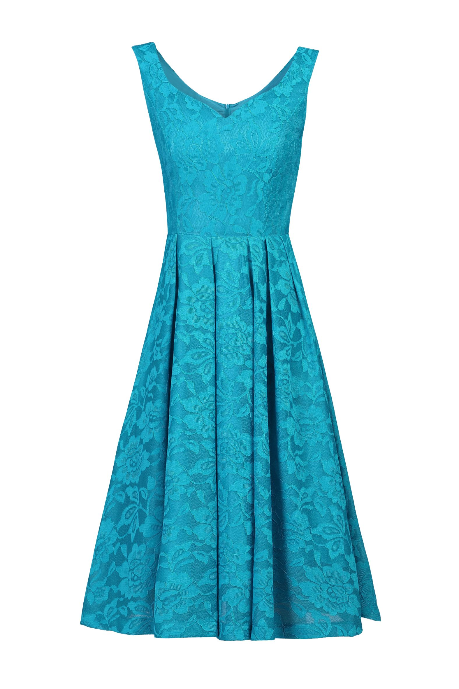Jolie Moi Lace Bonded Sweetheart Neck Dress, Teal