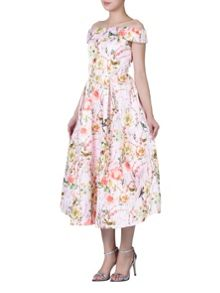 Jolie Moi Floral Print Bardot Neck Midi Dress