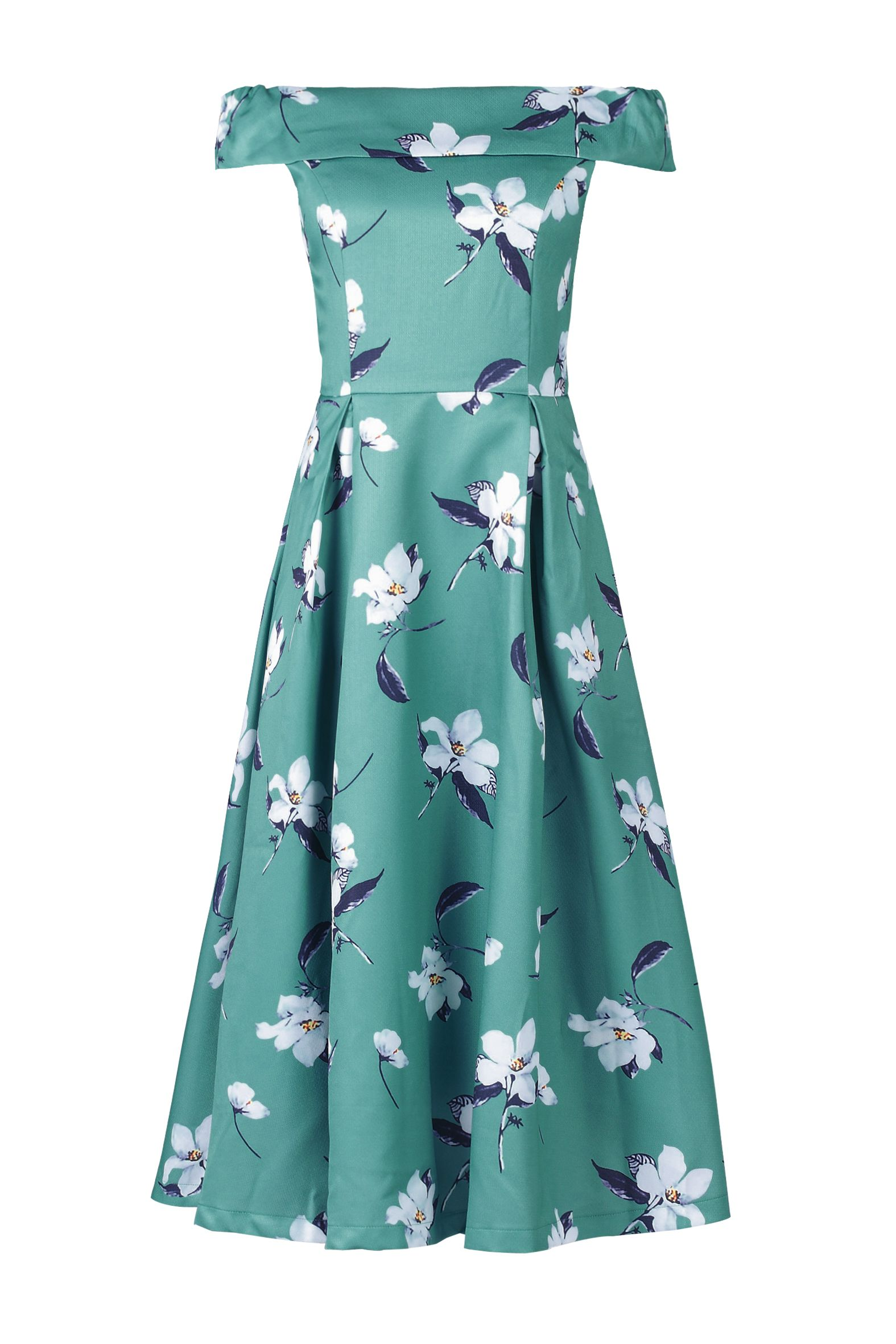 Jolie Moi Floral Print Midi Prom Dress, Green