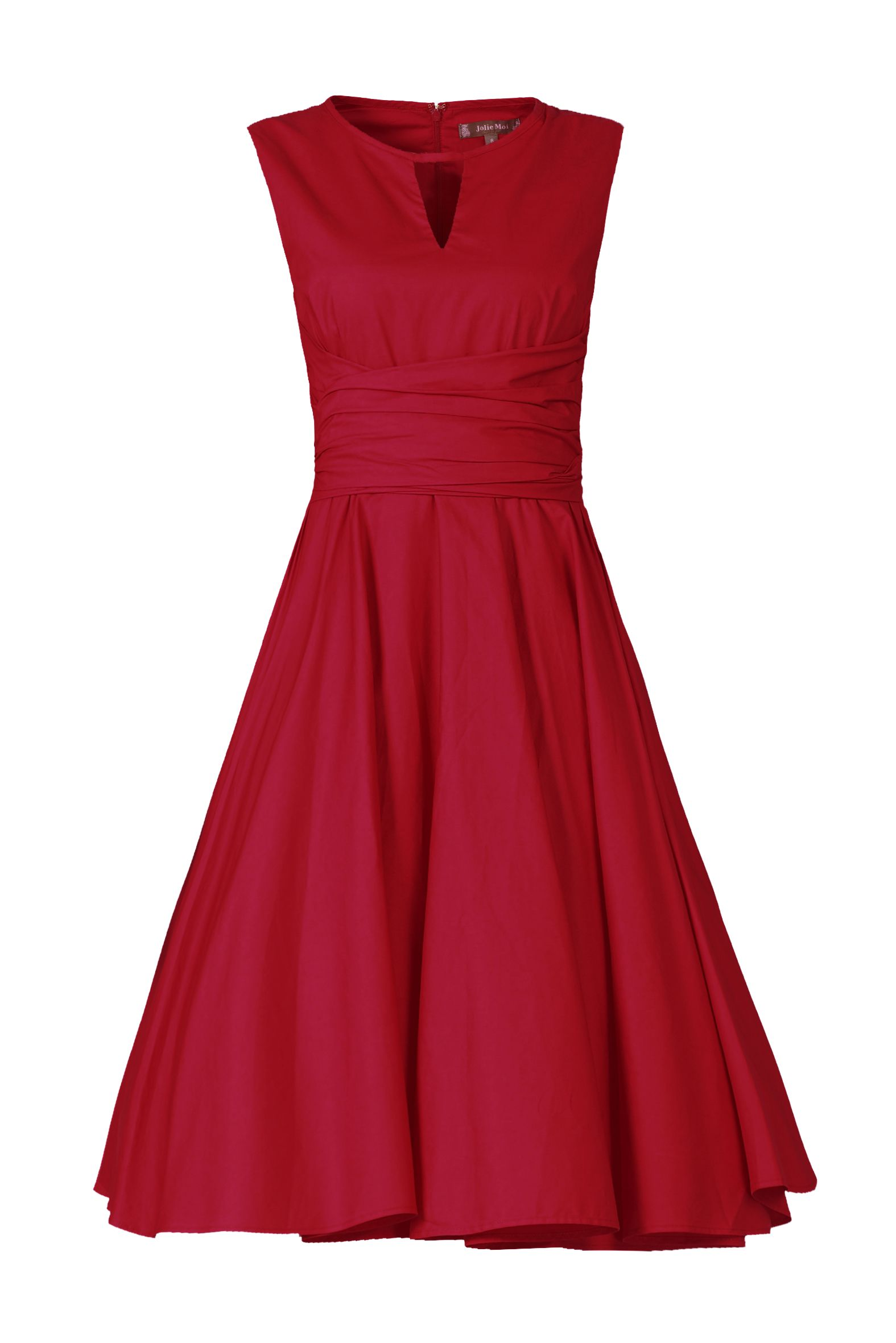Jolie Moi Keyhole NeckLine 50s Dress, Red