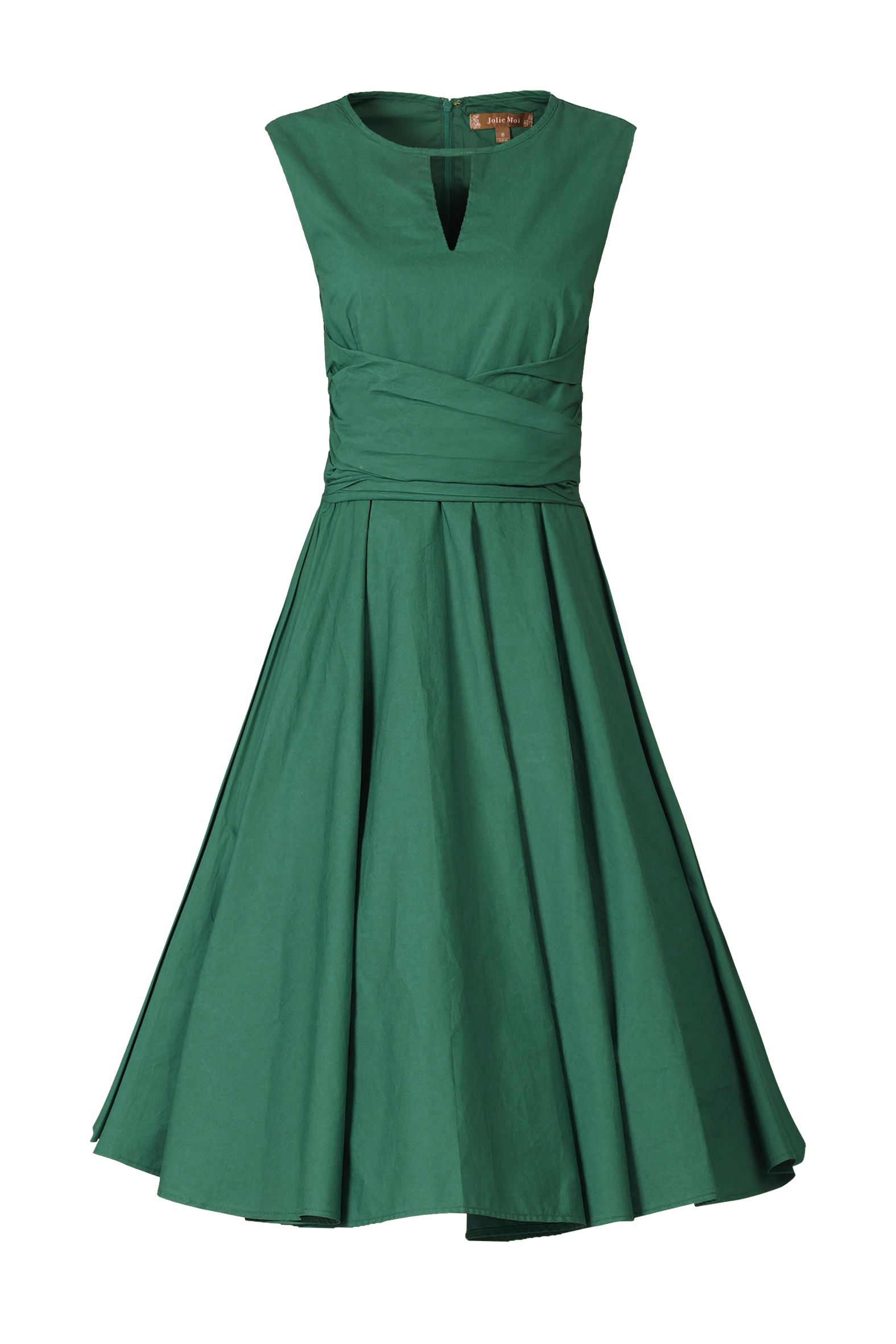 Jolie Moi Keyhole NeckLine 50s Dress, Dark Green