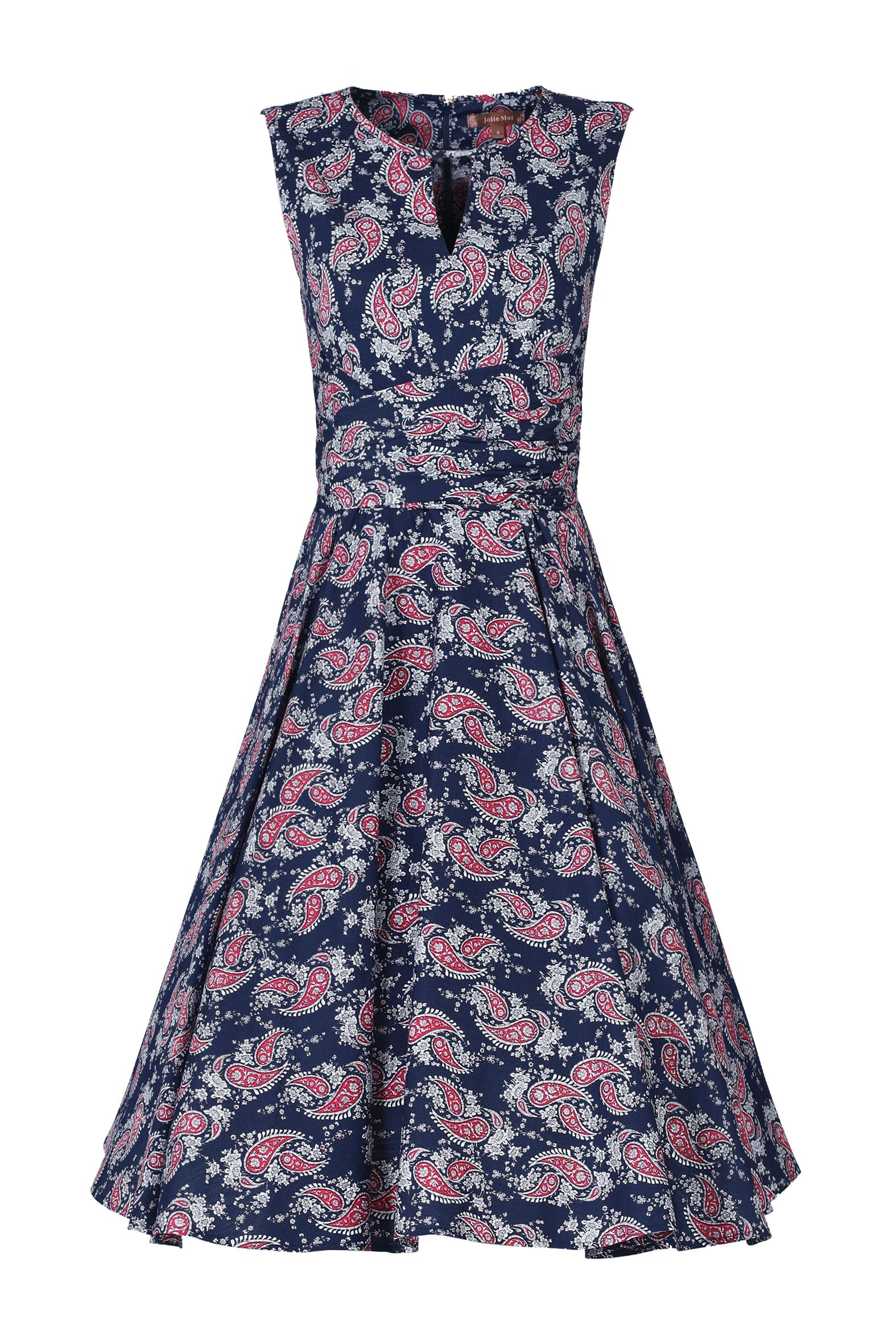 Jolie Moi Floral Print Wrap Belt Dress, Blue