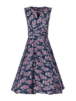 Floral Print Wrap Belt Dress
