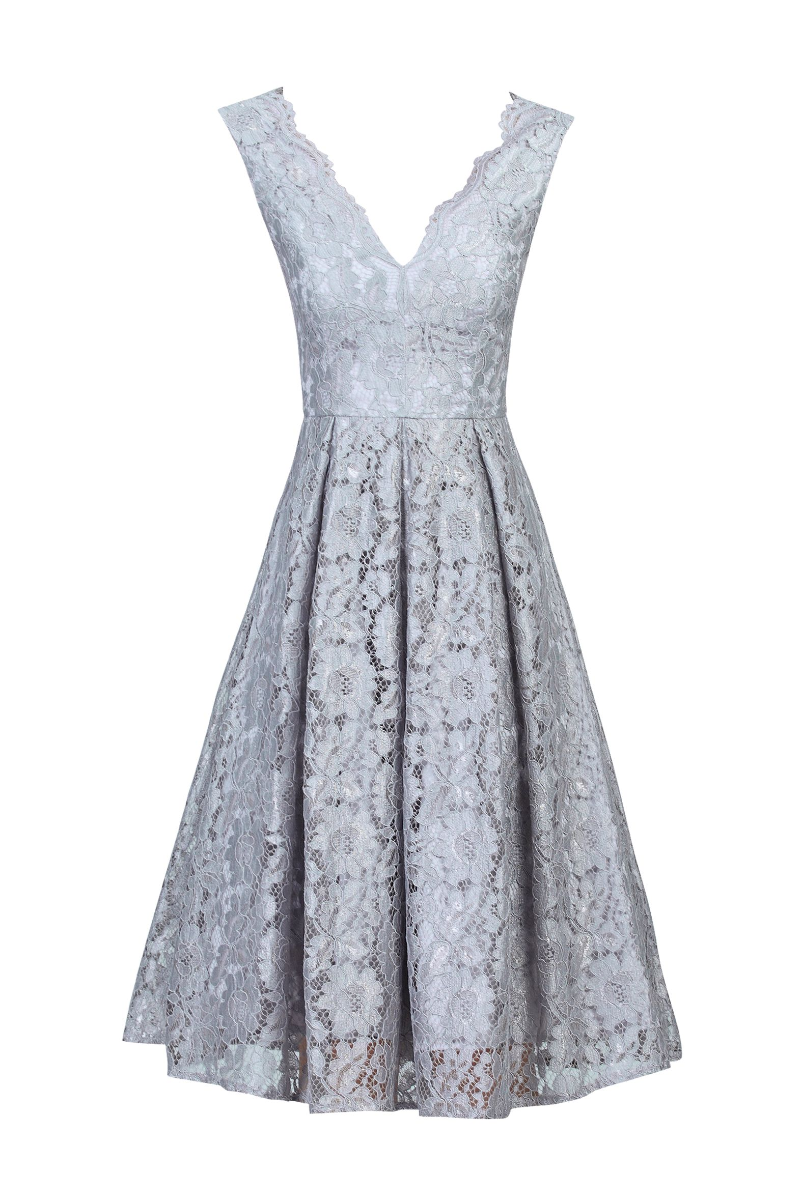 Jolie Moi Scalloped V Neck Lace Prom Dress, Grey