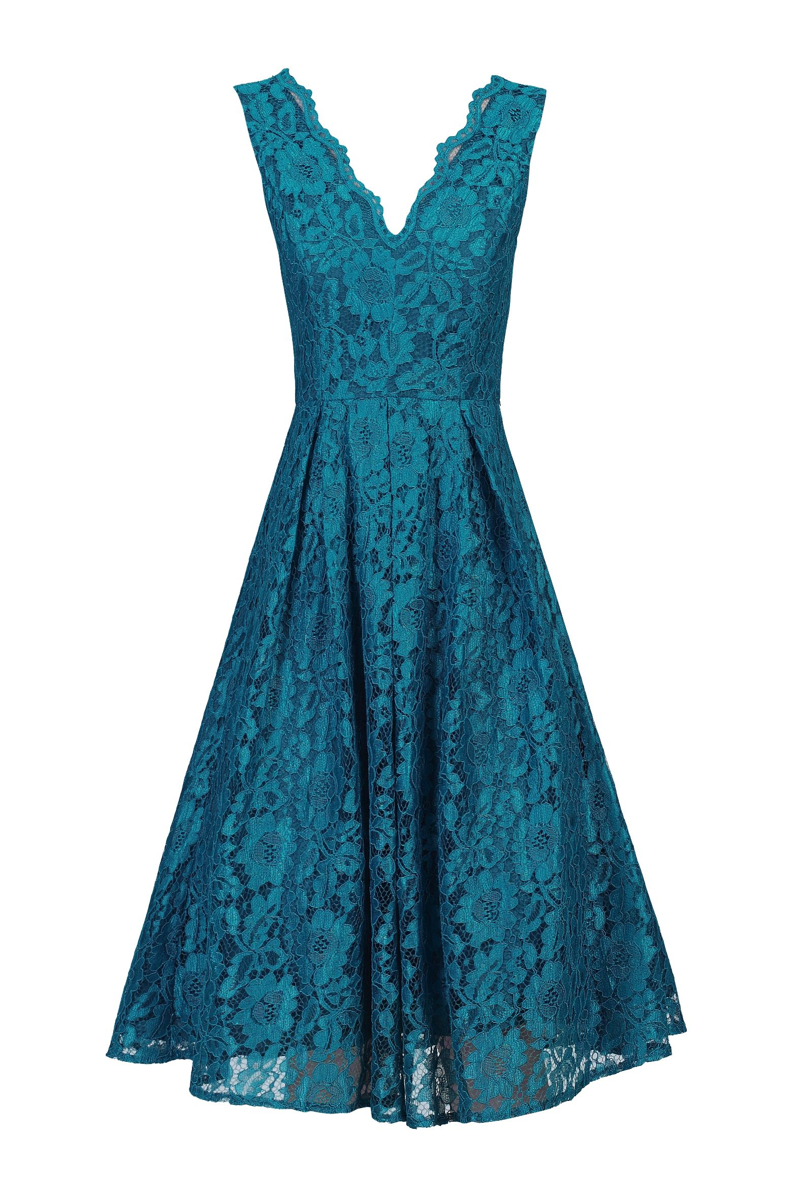 Jolie Moi Scalloped V Neck Lace Prom Dress, Blue