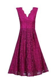 Jolie Moi Scalloped V Neck Lace Prom Dress