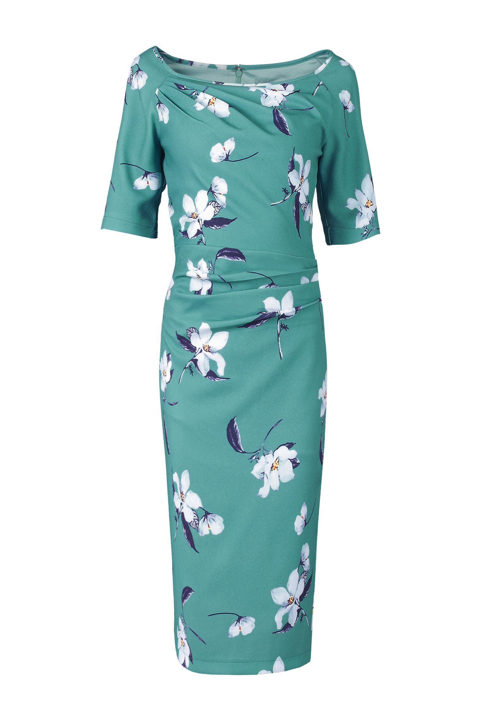 Jolie Moi Floral Print 1/2 Sleeve Dress, Teal