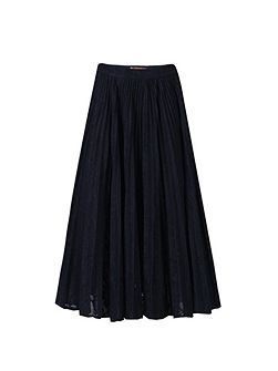 Lace Bonded Pleated Midi Skirt