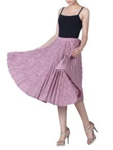 Jolie Moi Lace Bonded Pleated Midi Skirt