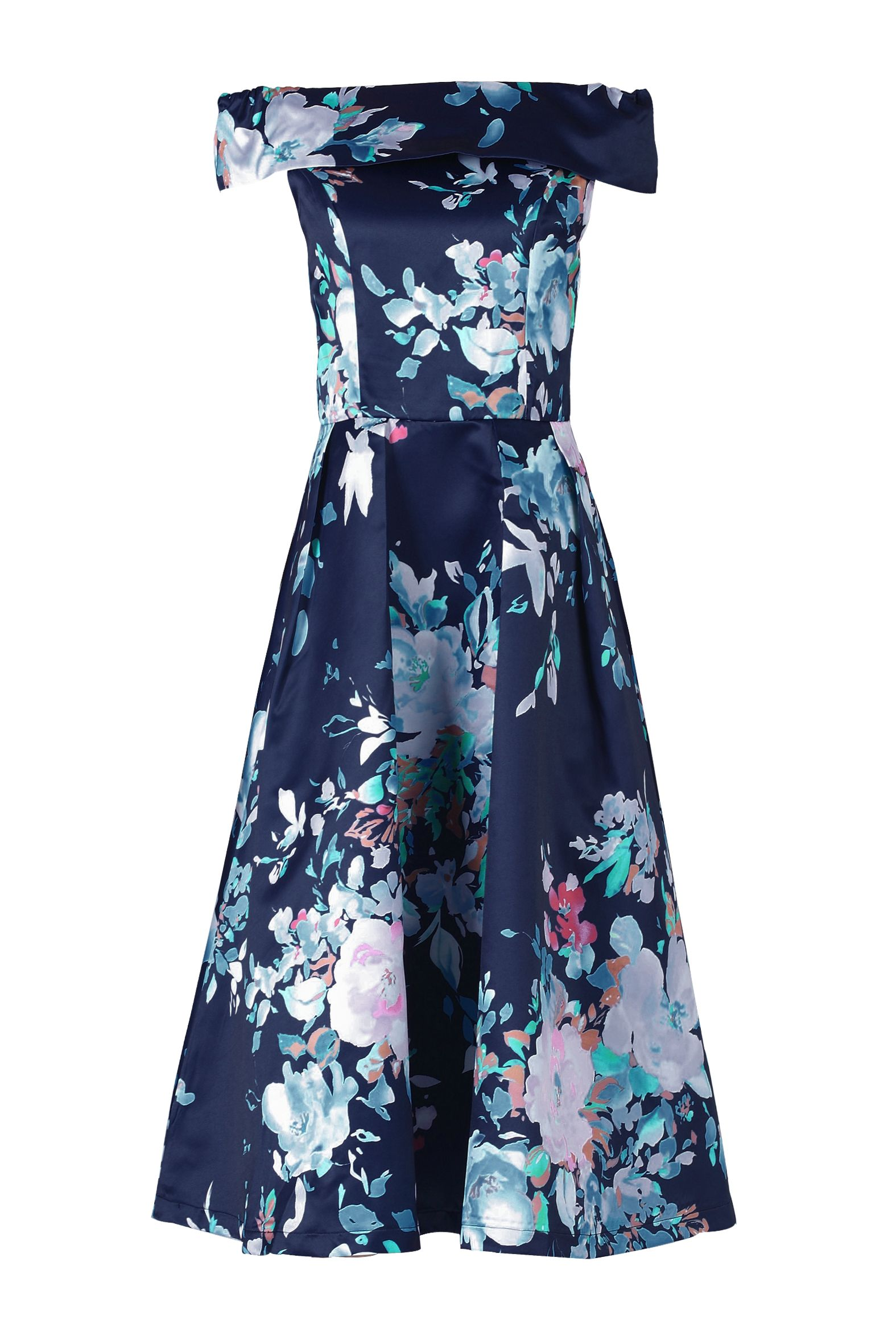 Jolie Moi Bardot Neckline Prom Dress, Blue