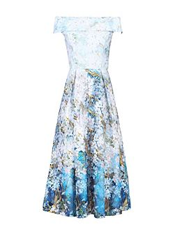 Lace Printed Midi Prom Dress