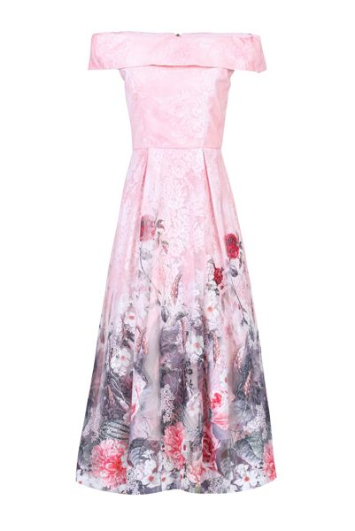 Jolie Moi Lace Printed Midi Prom Dress