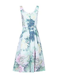 Retro Floral Textured Prom Dress