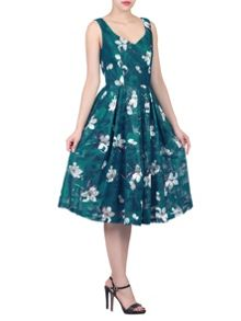 Jolie Moi Floral Print Lace Prom Dress
