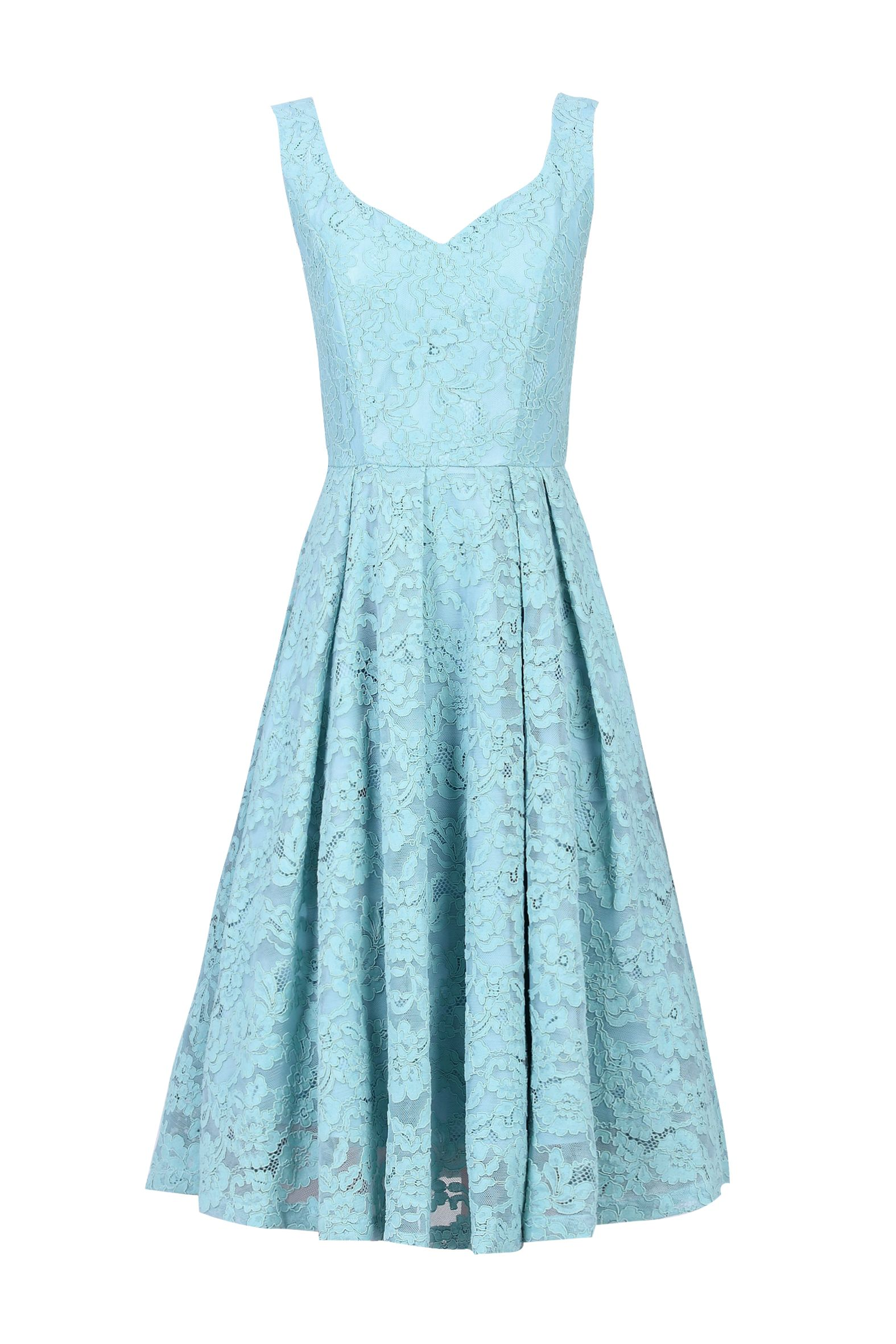 Jolie Moi Pleated Lace Prom Dress, Blue