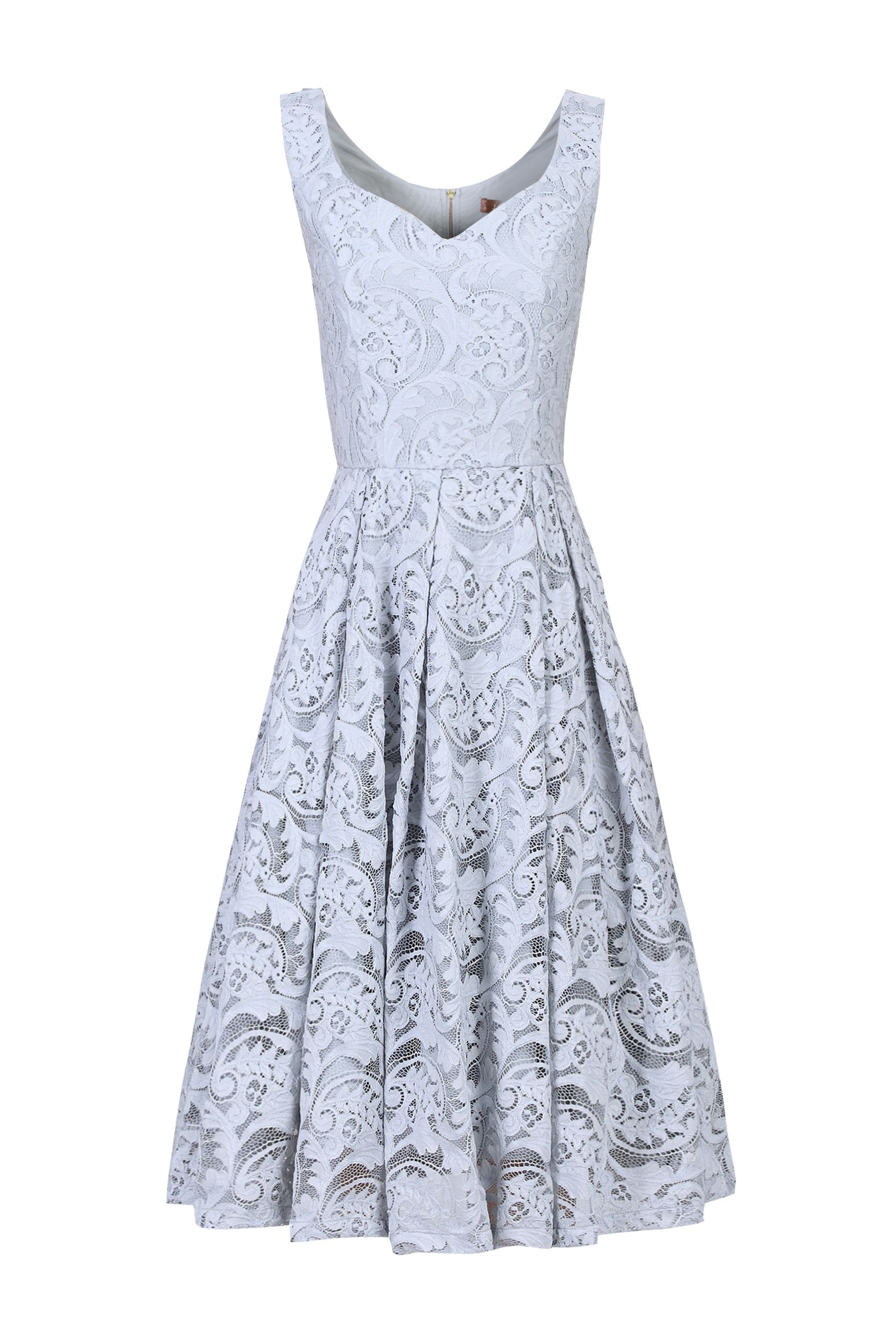 Jolie Moi Sweetheart Neck 50s Lace Dress, Grey