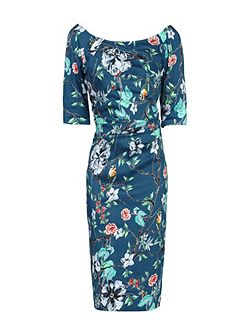 Retro Floral Print Half Sleeve Dress