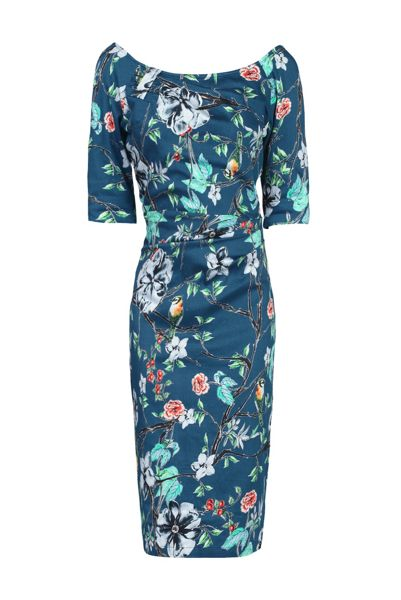 Jolie Moi Retro Floral Print Half Sleeve Dress