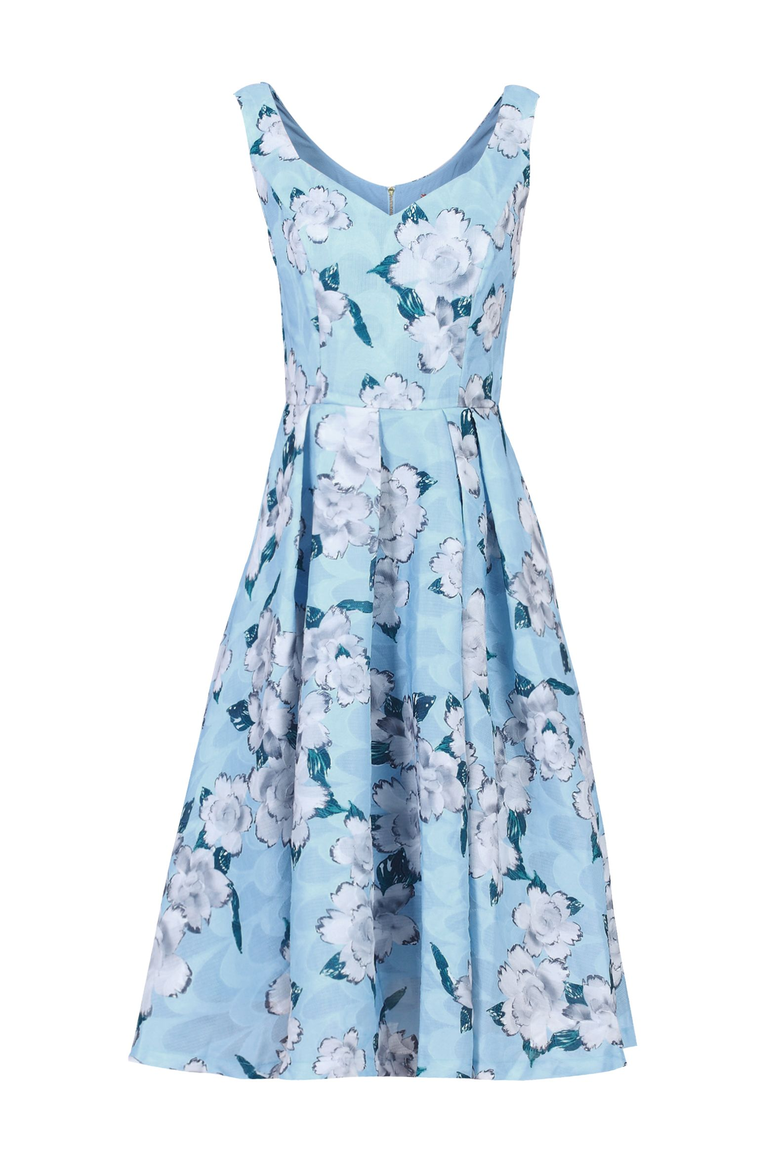 Jolie Moi Retro Floral Textured Prom Dress, Blue