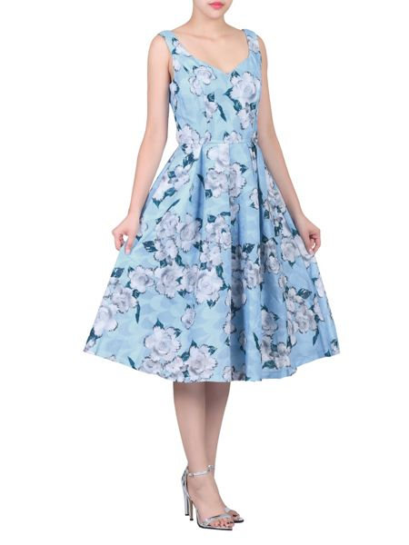 Jolie Moi Retro Floral Textured Prom Dress