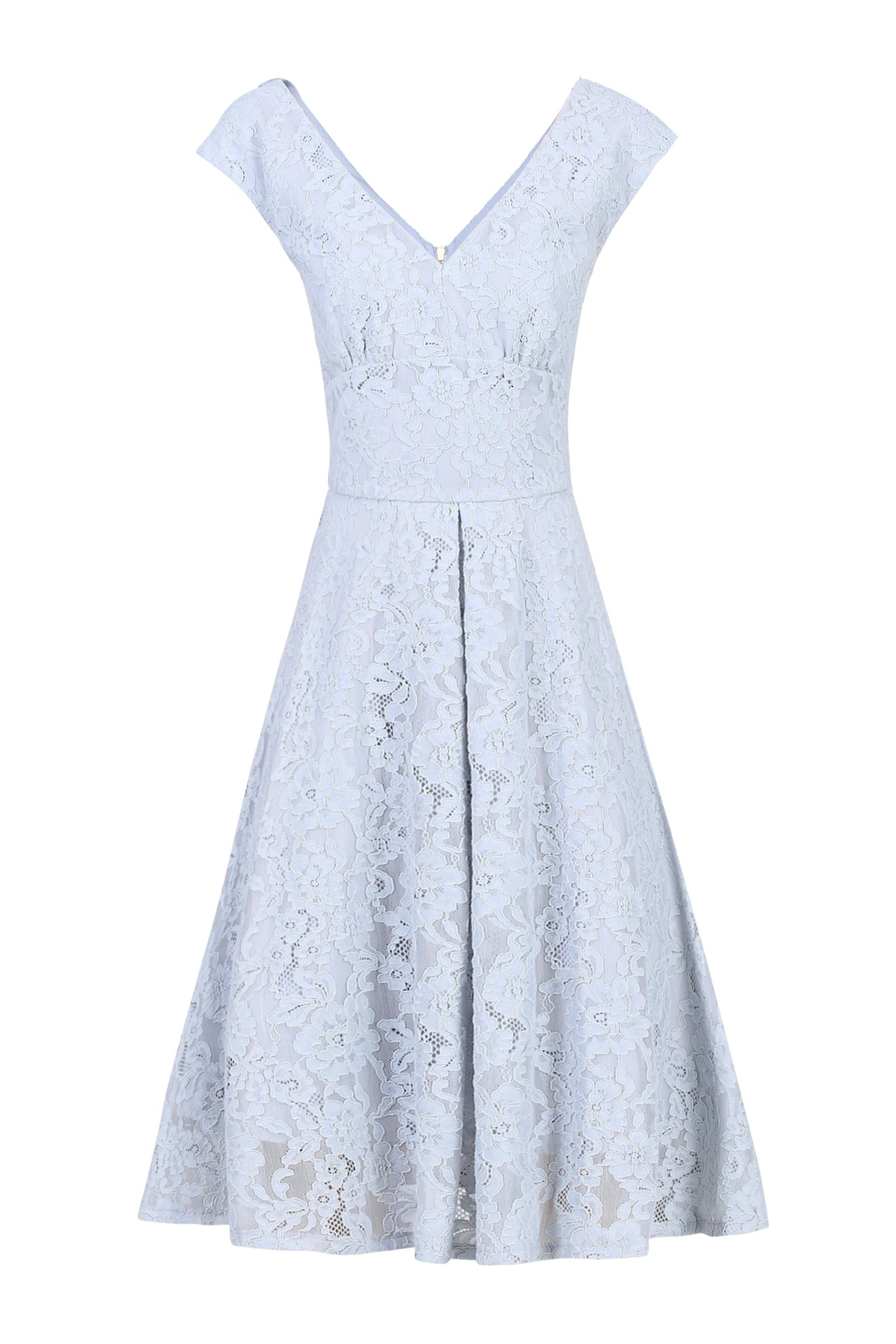 Jolie Moi Sweetheart Neckline 50s Lace Dress, Grey