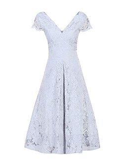 Cap Sleeve Scalloped Lace Dress