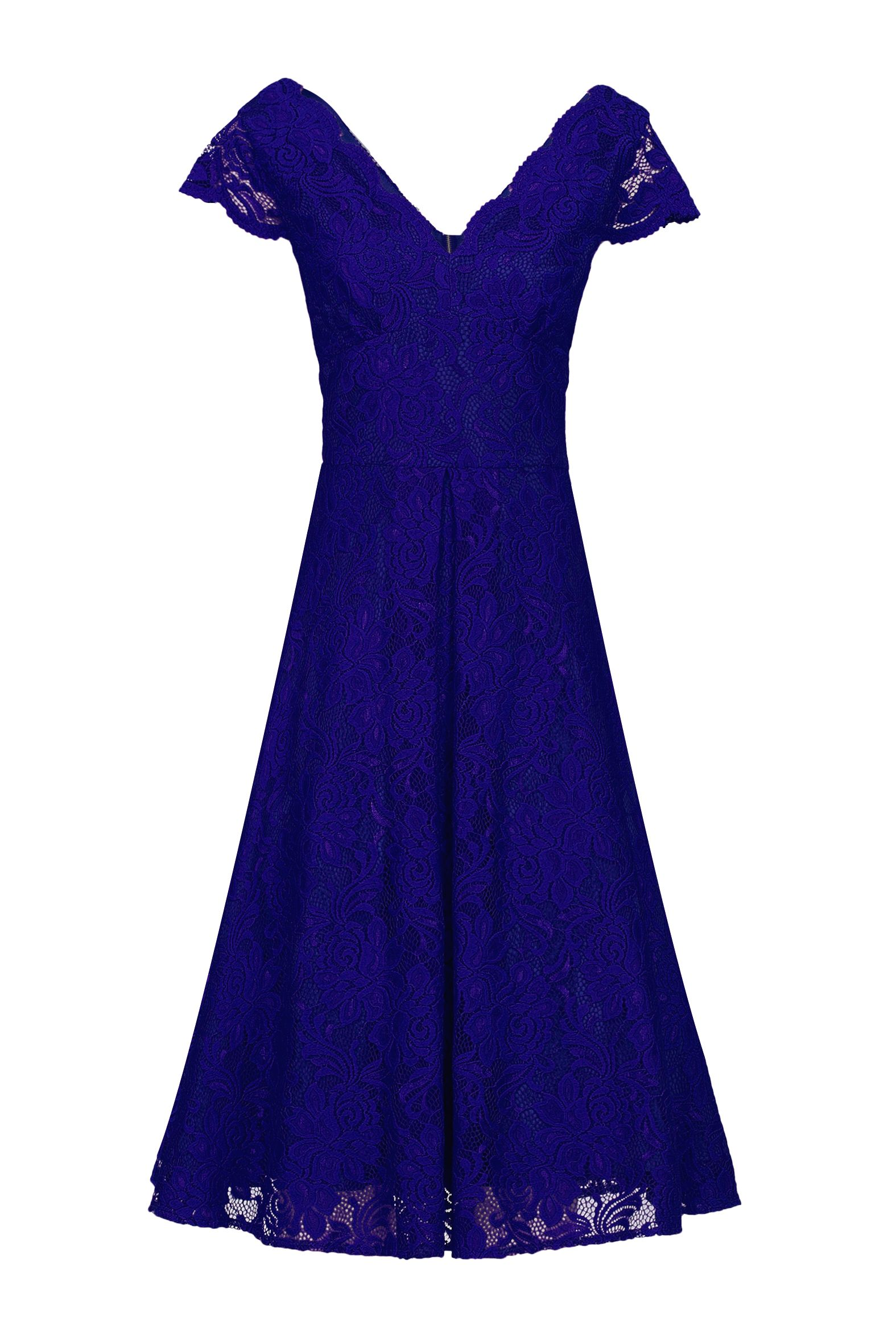 Jolie Moi Cap Sleeve Scalloped Lace Dress, Blue