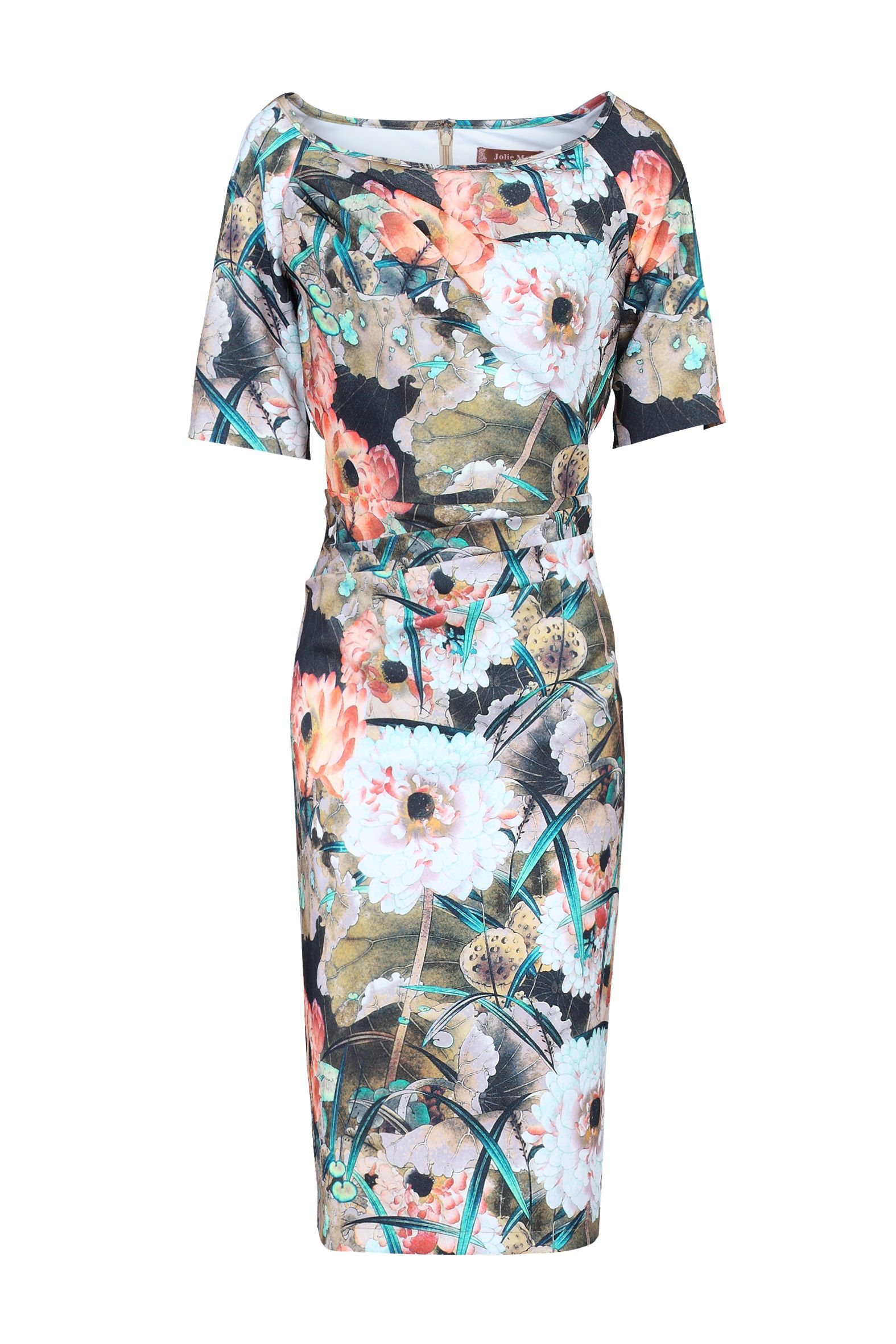 Jolie Moi Print Half Sleeve Shift Dress, Multi-Coloured