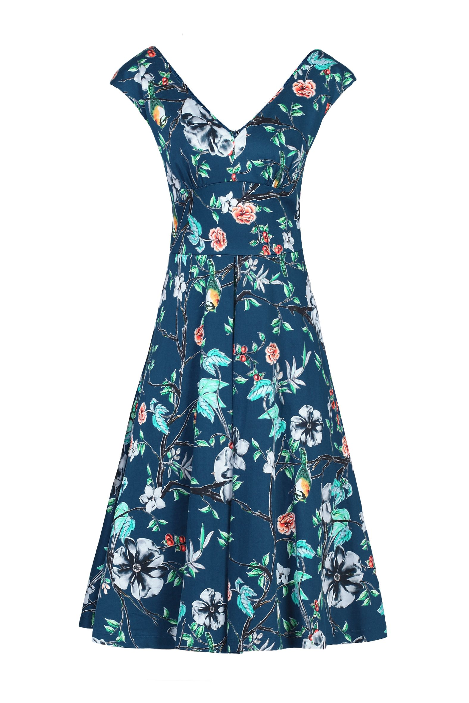 Jolie Moi Floral Print Sweetheart Neck Dress, Teal
