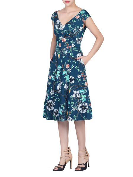 Jolie Moi Floral Print Sweetheart Neck Dress