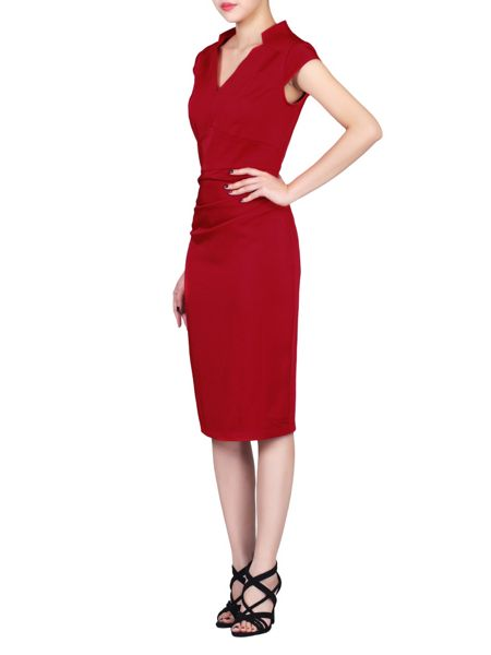 Jolie Moi V Neck Ruched Bodycon Dress
