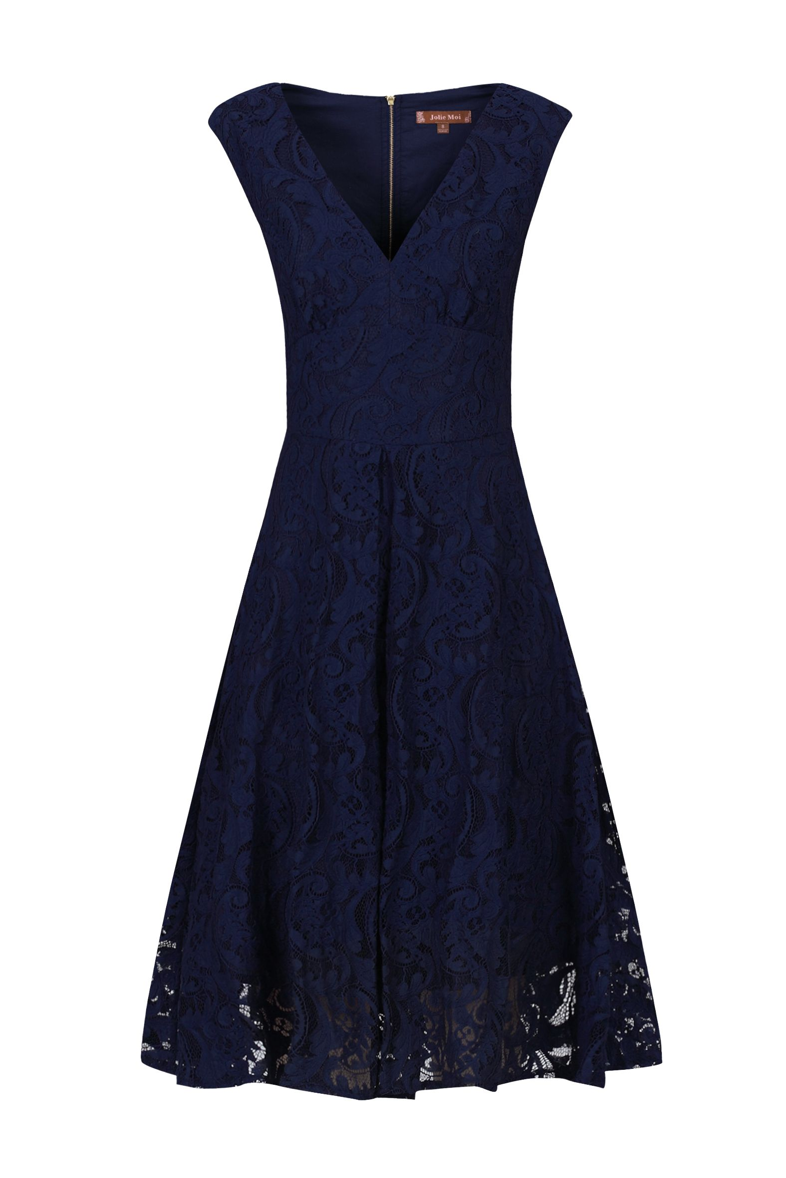 Jolie Moi Sweetheart Neckline 50s Lace Dress, Blue
