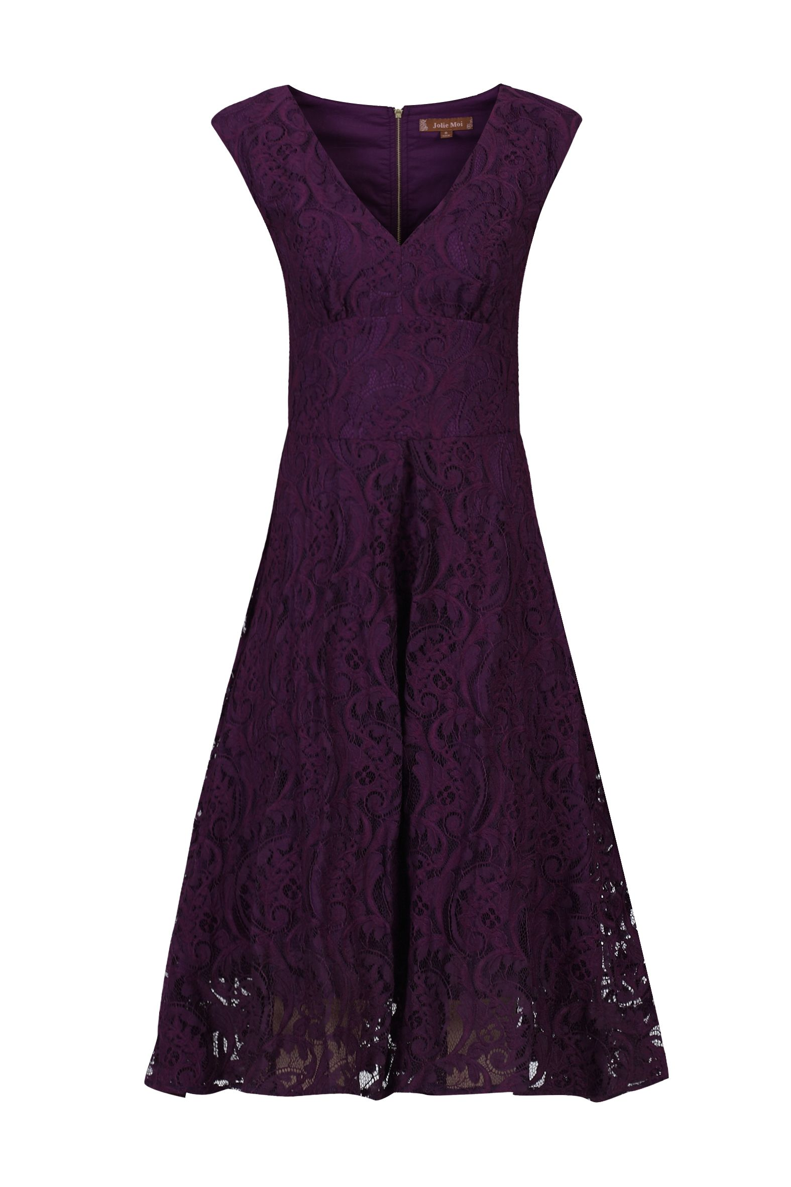 Jolie Moi Sweetheart Neckline 50s Lace Dress, Dark Purple