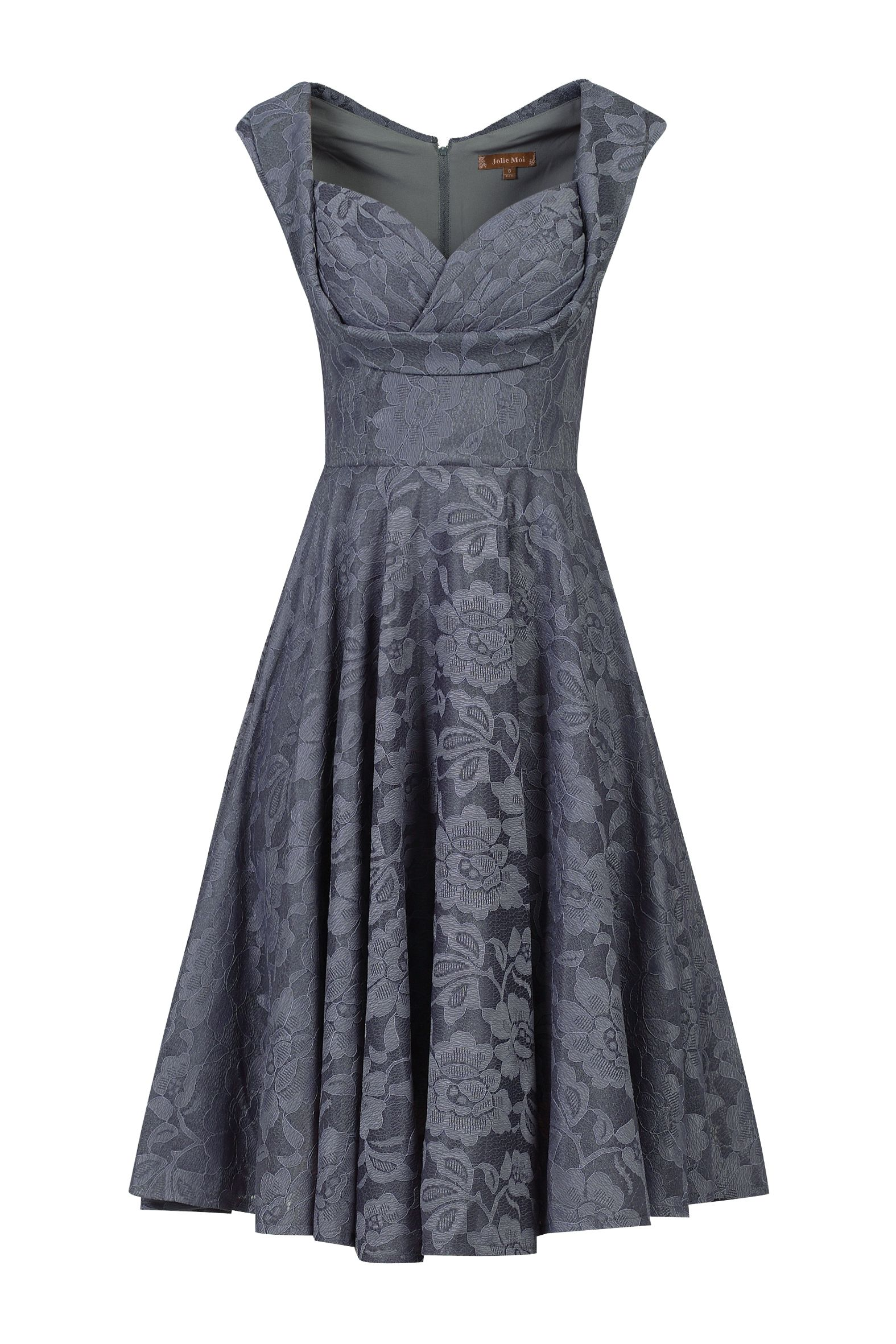Jolie Moi Ruched Crossover Bust Prom Dress, Grey