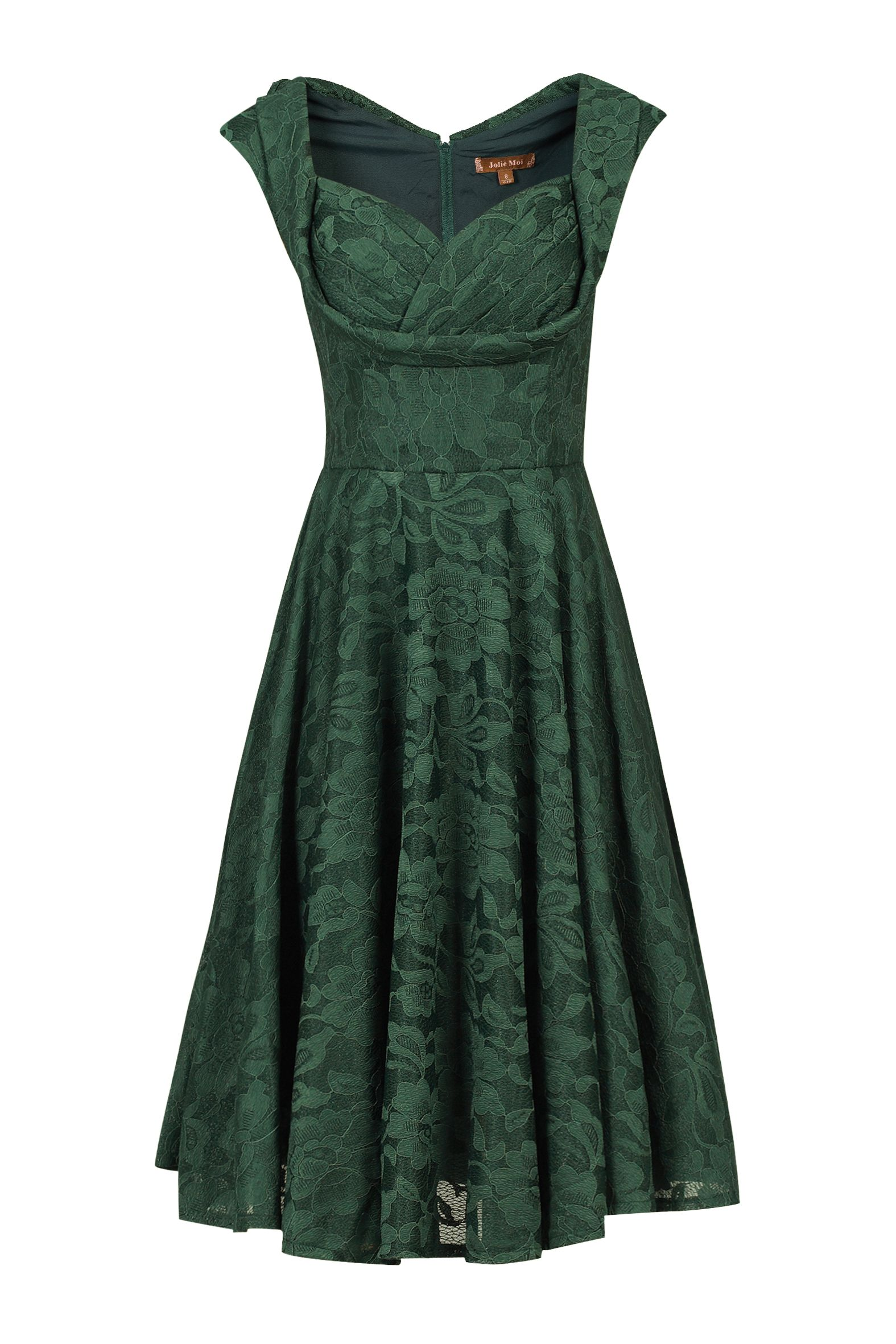 Jolie Moi Ruched Crossover Bust Prom Dress, Dark Green
