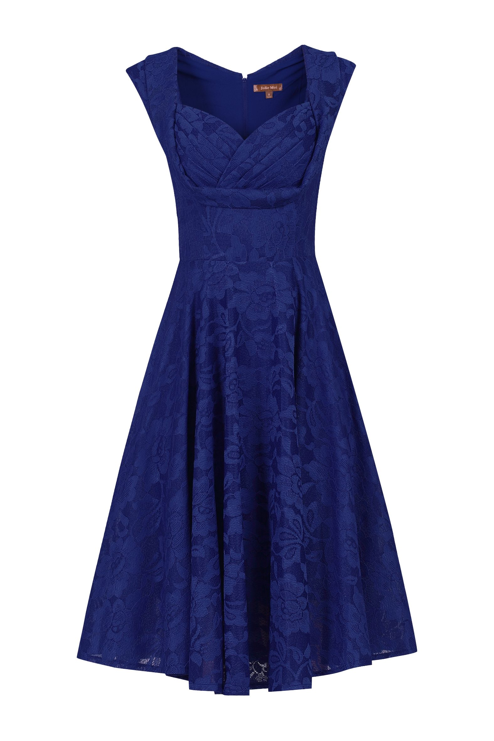 Jolie Moi Ruched Crossover Bust Prom Dress, Royal Blue