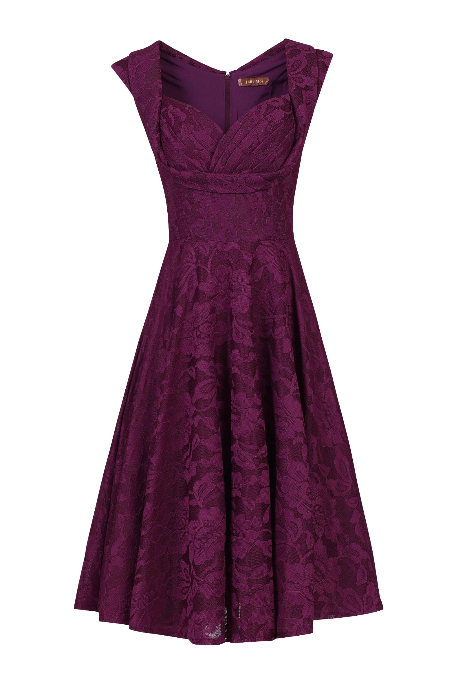 Jolie Moi Ruched Crossover Bust Prom Dress, Dark Purple